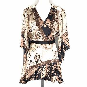 Single Tops - Single Brown & Black Silk Boho Wrap Top A040644